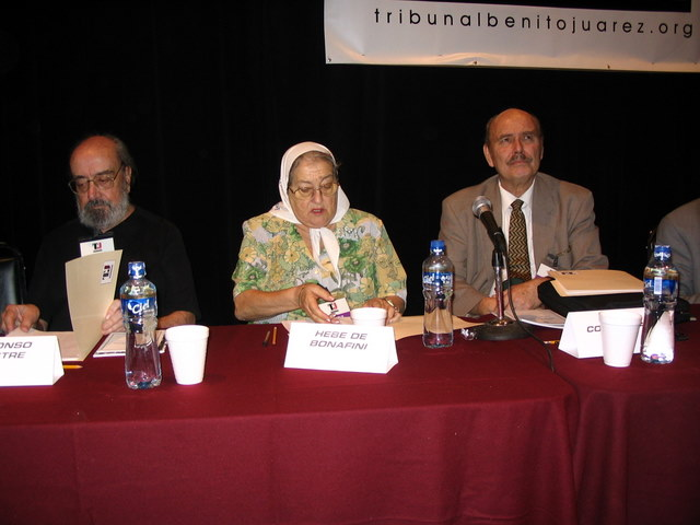 With Alfonso Sastre & Hebe Bonafini, Tribunal Benito Juárez, 2005